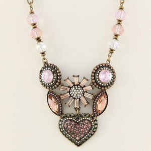 Betsey Johnson Pink Heart Cluster Necklace